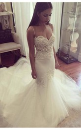 Delicate Tulle Lace Spaghetti Strap Wedding Dress 2018 Court Train
