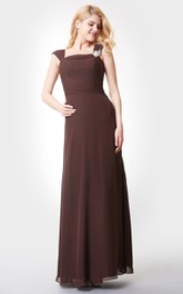 Square Neckline Long Chiffon Dress With Crystal Detailing