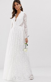 Ethereal Lace and Chiffon Long Sleeve Keyhole Wedding Dress