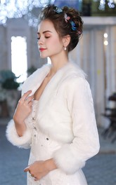 Winter New Fur Collar Warm Wedding Shawl