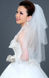 Beautiful Multi-Layered Puffy Elbow Wedding Veil with Pearl Beading