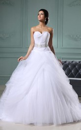 Sweetheart A-Line Dress With Applique Sash and Chiffon Overlay