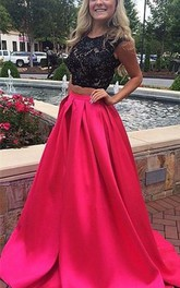 Newest Lace Two Piece 2018 Prom Dress Sweep Train Jewel