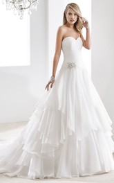 A-Line Satin Wedding Dress With Illusive Neckline And Bow Waist