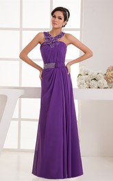 Chiffon Floor-Length Pleated Floral Embellishment and Dress With Beading