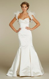 Sexy Empire Waist Draped Bodice Satin Mermaid Dress With Sweetheart Neckline