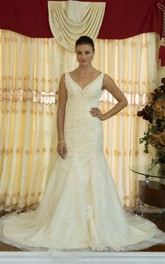 V-Neck Sleeveless Lace Mermaid Dress With Beadings and Low-V Back
