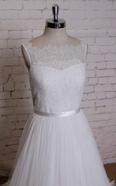 Sleeveless A-Line Dress With Lace Bodice and Satin Sash