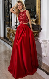 Sleeveless Jewel Neck Appliqued Satin Prom Dress With Illusion Back