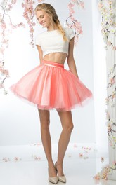 A-Line Short Jewel-Neck Short Sleeve Tulle Satin Keyhole Dress With Beading