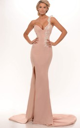 Sheath One-Shoulder Appliqued Floor-Length Sleeveless Jersey Prom Dress With Split Front