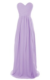 Strapless Sweetheart Ruched Chiffon A-line Gown With Train