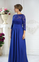 Bateau Lace 3-4 Sleeve A-line Pleated Chiffon Long Dress