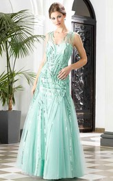 A-Line Floor-Length V-Neck Sleeveless Tulle Sequins Pleats Low-V Back Dress