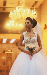 Gorgeous Cap Sleeve Tulle Lace Wedding Dress With Train