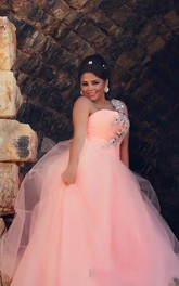 Chic Tulle Crystals Princess Pink Wedding Dress 2018 One Shoulder