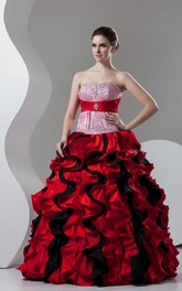 Mute-Color Ruffled Stress and Ball-Gown With Broach