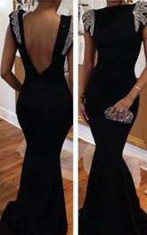 Sexy Backless Black Mermaid Prom Dresses Cap Sleeves Bateau Evening Gowns With Beading Crystals