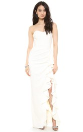 Long Sweetheart Sheath Chiffon Dress With Side Split