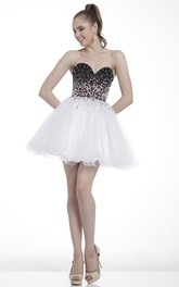 A-Line Mini Sweetheart Sleeveless Dress With Beading And Ruffles