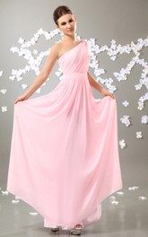 One-Shoulder Floor-Length Chiffon Dress With Pleating
