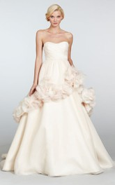Captivating Strapless Draped Bodice Organza Ball Gown With Floral Embellishment