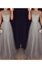A-line Scoop Sleeveless Tulle Beading Sweep Train Dresses