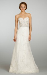 Exquisite Sweetheart Neckline Tulle Dress With Beaded Embroidery