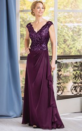 Cap-Sleeved V-Neck Long Mother Of The Bride Dress With Ruffles And V-Back