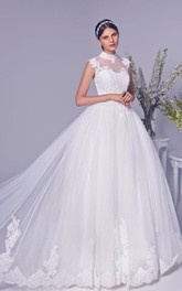 Newest Tulle Lace Appliques Princess Wedding Dress 2018 High Neck Lace-up