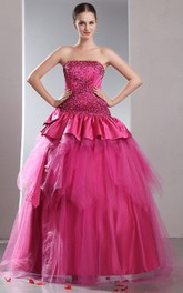 Strapless A-Line Ball Gown With Sequins and Peplum