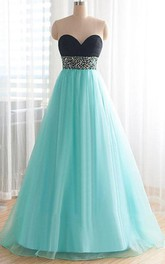 Pretty Sweetheart Floor-Length Beading Plus Size Prom Dress