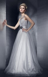 Noble Sleeveless Pleated A-Line Gown With Illusion Neckline