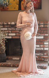 Sheath Illusion Long Sleeve Empire Maternity Dress