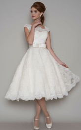 Tea-Length A-Line Cap Sleeve Square Neck Ribboned Lace Wedding Dress