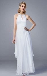 Halter Style Chiffon Long Wedding Dress