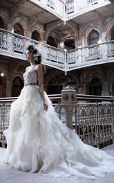 Fantastic Organza Spiral Wave Ball Gown With Beaded Embroidery