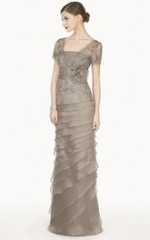 Empire Layered Long Dress With Lace Short-sleeve Jacket And Flower Sash