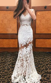 Cap Sleeve V Neck Mermaid Lace Gown With Illusion