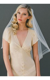 Retro Simple White Single Layer Elastic Net Travel Veil With Insert Comb