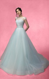 A-Line Long Bateau-Neck Cap-Sleeve Low-V-Back Tulle Lace Dress With Beading And Bow