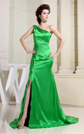 Magnificent One Shoulder Ruched Satin Gown With Front Split and Court Train