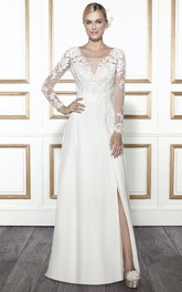 Scoop Floor-Length Long-Sleeve Appliqued Chiffon Wedding Dress
