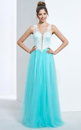 A-Line V-Neck Appliques Button Floor-Length Prom Dress