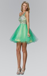 A-Line Short One-Shoulder Sleeveless Tulle Dress With Ruffles And Beading