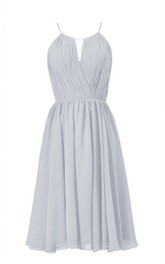 High-neck Short Chiffon Dress With Pleats
