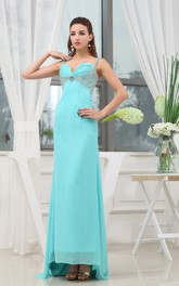 Sleeveless A-Line Spaghetti Straps Asymmetrical Dress With Beadings