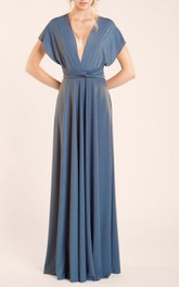 Deep V Neck Pleated A-line Jersey Long Dress With Criss Cross Back