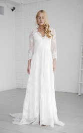 Lace A-line Long Sleeve Elegant Wedding Dress With V-neck And Deep V-back