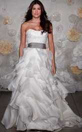 Magnificent Strapless Embroidered Bodice Organza Ruffle Dress With Ribbon